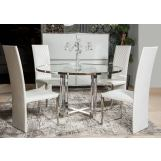Aico State St 5pc Round Dining Set in Stainless Steel