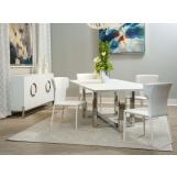 AICO Furniture Halo 5pc Rectangular Dining Room Set in Glossy White