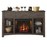 Liberty Furniture Stone Brook Buffet with FIreplace in Rustic Saddle 466-CB6479
