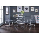Acme Furniture Nadie 3pc Square Counter Height Set in Chrome