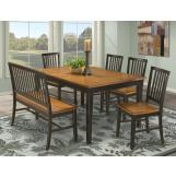 Intercon Furniture Arlington 6-Piece Dining Table Set in Black and Java