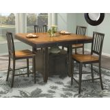 Intercon Furniture Arlington 5-Piece Gathering Island with Box Base Set in Black and Java