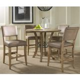 Hillsdale Charleston 5pc Round Counter Height Dining Room Set w/ Non-Swivel Parson Counter Stools in Desert Tan
