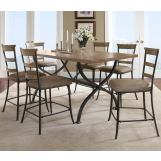 Hillsdale Charleston 7pc Rectangle Counter Height Dining Room Set w/ Non-Swivel Ladder Back Counter Stools in Desert Tan