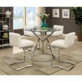 Furniture of America Livada II Counter Ht. Table in Chrome CM3170RPT