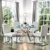 Furniture of America Livada I Dining Table in Chrome CM3170RT