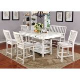 Furniture of America Kaliyah Counter Height Table in Antique White Finish CM3194PT