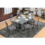 Furniture of America Flaherty I/Brixton I 7pc Rectangular Dining Table in Antique Black