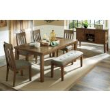 Flaybern 7pcs Rectangular Butterfly Extension Dining Table Set in Brown