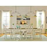 Universal Furniture Summer Hill 7PC Rectangular Leg Dining Set w/ Pierced Back Chairs in Cotton CODE:UNIV20 for 20% Off