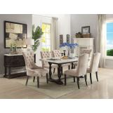 Acme Furniture Gerardo 7pc Rectangular Dining Set in White and Espresso
