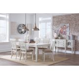 Danbeck 8pcs Rectangular Extension Dining Table Set in White