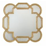 Bernhardt Salon Wall Mirror with Decorative Shaped Border in Antique Gold Leaf 341-322G