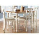 Liberty Furniture Ocean Isle 5 Piece Gathering Dining Set in Natural Pine