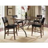 Hillsdale Cameron 5pc Rectangle Counter Height Dining Room Set w/ Non-Swivel Parson Counter Stools in Chestnut Brown