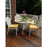 South Sea Rattan Key West Outdoor 5-Piece Round Dining Set in Rustic White