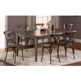 Hillsdale Furniture Lorient 7pc Rectangle Dining Set in Washed Charcoal Gray
