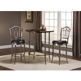 Hillsdale Furniture Maddox 3pc Bistro Set with Portland Stools  in Antique Nickel