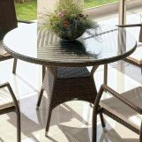 "Skyline Design Marriot 43"" Round Dining Table with Umbrella Hole in JB Chocolate 2302"