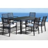 Skyline Design Miami 7 Piece Rectangular Dining Set in Black Mushroom