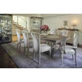 AICO Overture 9pc Rectangular Dining Table Set in Cristal