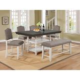 Crown Mark Clover 6pc Dining Room Set in White