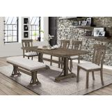 Crown Mark Quincy 6pc Dining Room Set in Light Brown