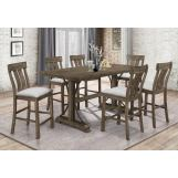 Crown Mark Quincy 7pc Dining Room Set in Light Brown