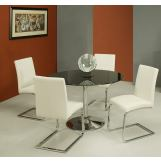 Pastel Furniture 5pc Sundance Round Dining Room Set with Monaco Side Chair in Chrome