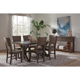 John Thomas Furniture Canyon 7-Piece Solid Top Dining Room Set in Graphite