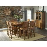 John Thomas Furniture Canyon 7-Piece Extension Pub Dining Room Set in Pecan
