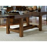 A-America Mariposa Tri- Butterfly Trestle Table in Rustic Whiskey MRPRW6080