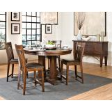 Intercon Furniture Hayden 5-Piece Round Gathering Dining Set in Rough Sawn/Espresso