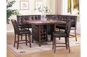 Acme Britney 6-pc Counter Height Dining Table Set in Brown