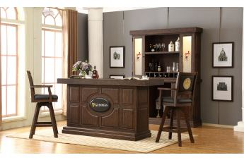 ECI Furniture Guinness 3pcs Bar Table Set in Antique Walnut