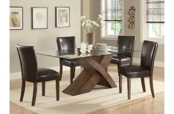 Coaster Nessa 5pc Glass Top Dining Set in Brown 103051S