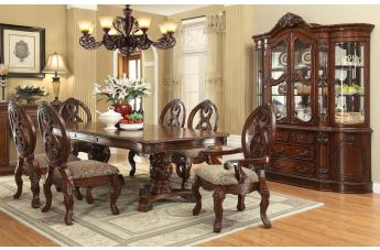 Acme Rovledo 7pc Double Pedestal Dining Set in Cherry