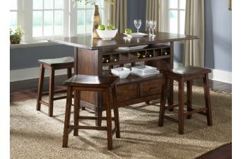 Liberty Furniture Cabin Fever 5pc Island Set in Bistro Brown Finish 121-IT