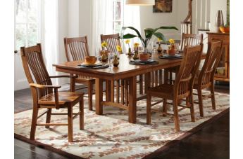 A-America Laurelhurst Trestle Dining Set in Mission Oak CODE:UNIV20 for 20% Off