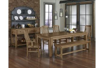 Vaughan-Bassett Simply Dining 5-Piece Dining Room Set w/ Wooden Top in Natural Maple
