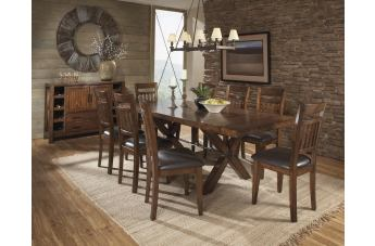 Homelegance Vasquez 9pc Dining Table Set in Warm Oak