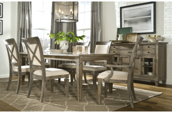 Legacy Classic Brownstone Village Rectangular Leg Table Dining Set with Upholstered Back Chairs