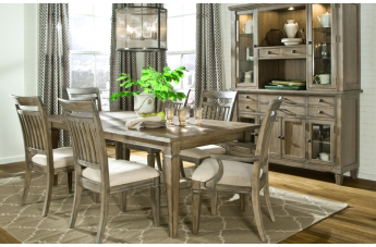 Legacy Classic Brownstone Village Rectangular Leg Table Dining Set with Slat Back Chairs