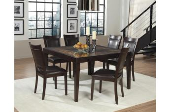 Homelegance Vincent 7pc Dining Table Set in Dark Brown