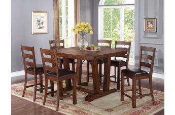 New Classic Furniture Lanesboro 7-Piece Counter Table Set in Distressed CLOSEOUT