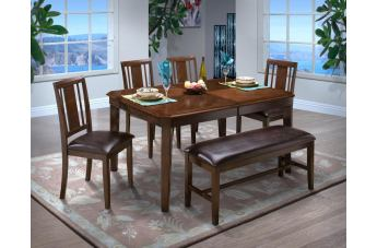 New Classic Latitudes 6 Piece Cut Corner Dining Set in Chestnut
