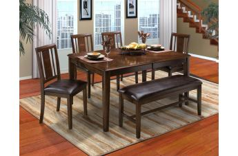 New Classic Latitudes 6 Piece Round Corner Dining Set in Chestnut