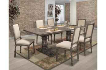 New Classic Muses 7pc Rectangular Dining Set in Dove Gray