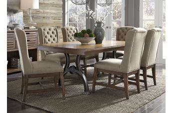 Liberty Furniture Arlington House 7pc Trestle Table Set in Cobblestone Brown EST SHIP TIME IS 4 WEEKS