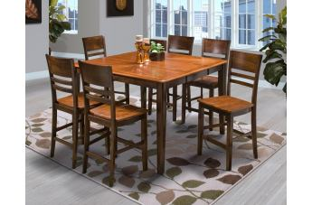 New Classic Latitudes 7 Piece Counter Height Round Corner Dining Set in Two Tone